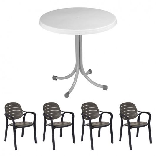 Set tavolo Elvio bianco + 4 sedie Siesta antracite bar terrazzo