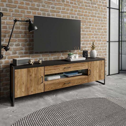 Porta tv Likas grande 2 ante 2 cassetti legno invecchiato metallo nero industrial