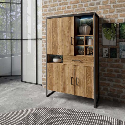 Mobile contenitore Likas 3 ante 1 cassetto legno invecchiato metallo nero industrial