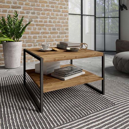 Tavolino Likas legno invecchiato metallo nero industrial