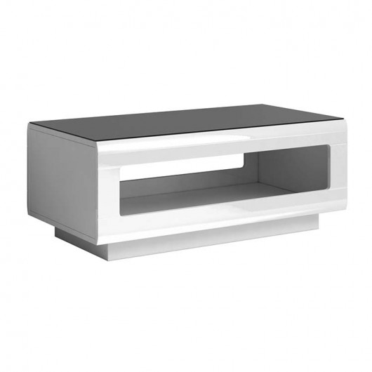 Tavolino Gordon bianco lucido vetro nero