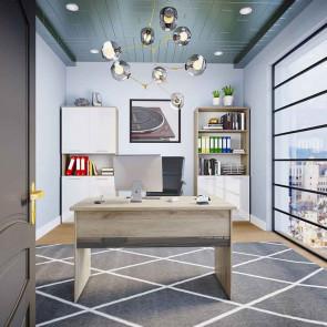 Arredo ufficio completo Time 23 rovere bianco antracite lucido