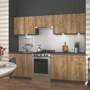 Cucina moderna componibile Urban 240 cm legno quercia antracite