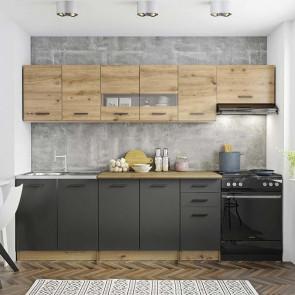Cucina moderna rovere grigio vetro Cook 260 cm lineare