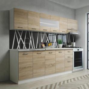 Cucina moderna componibile lineare Cook 260 cm rovere vetro