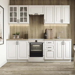 Cucina classica shabby bianca componibile Oxford lineare 240 cm