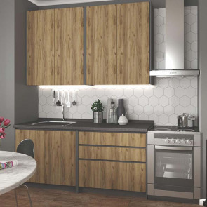 Cucina moderna quercia antracite Amber lineare 180 cm
