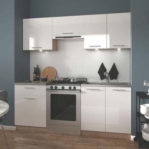 Cucina moderna bianca rovere Matrix 200 cm lineare