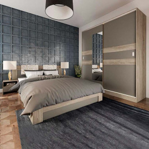 Camera da letto completa matrimoniale Altea rovere grigio