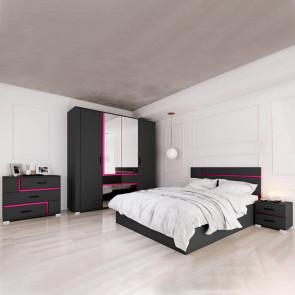 Camera da letto completa matrimoniale Miami nero viola
