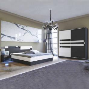 Camera da letto completa Dallas scorrevole nero bianco lucido