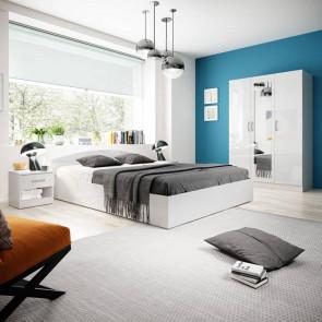 Camera da letto matrimoniale completa Sorrento bianco lucido