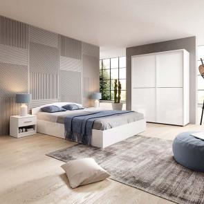 Camera da letto matrimoniale completa Roma bianco lucido