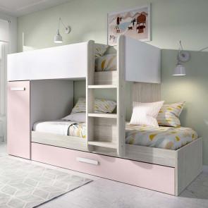 Cameretta bambini con soppalco Damian 3 letti bianco rosa