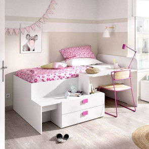 Letto singolo Hazel bianco rosa con scrivania 2 cassetti