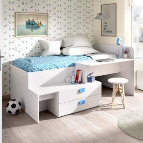Letto singolo Hazel bianco blu con scrivania 2 cassetti