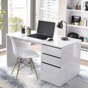 Scrivania ufficio Virgil bianco lucido