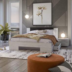 Letto oversize 180/200 con cassettoni + comodini Lisa Gihome ® pino e rovere grigio