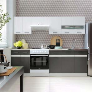 Cucina moderna standard Gaia 240 cm bianco lucido antracite cemento lineare