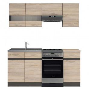 Cucina moderna standard Gaia 170 cm rovere wengè lineare