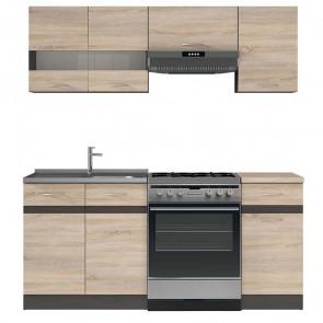 Cucina moderna standard Gaia 180 cm rovere wengè lineare