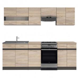 Cucina moderna standard Gaia 230 cm rovere wengè lineare