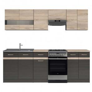 Cucina moderna standard Gaia 1 230 cm wengè rovere lineare