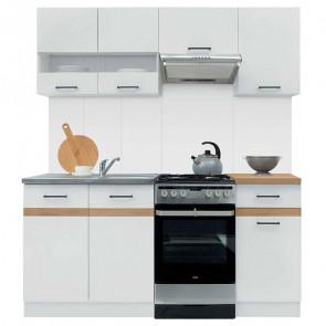 Cucina moderna standard Gaia 170 cm bianco lucido rovere lineare
