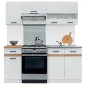 Cucina moderna standard Gaia 180 cm bianco lucido rovere lineare