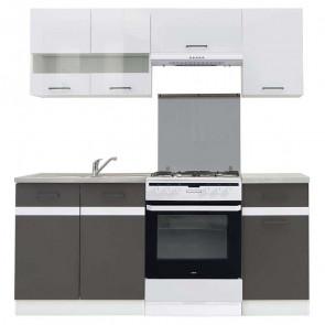 Cucina moderna standard Gaia 180 cm bianco lucido antracite cemento lineare