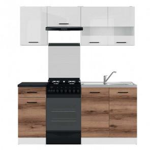 Cucina moderna standard Gaia 2 170 cm bianco lucido quercia scura nero lineare