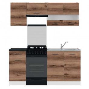 Cucina moderna standard Gaia 3 170 cm quercia scura nero lineare