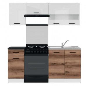 Cucina moderna standard Gaia 2 180 cm bianco lucido quercia scura nero lineare