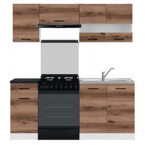 Cucina moderna standard Gaia 3 180 cm quercia scura nero lineare