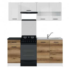 Cucina moderna standard Gaia 170 cm bianco lucido quercia nero lineare