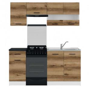 Cucina moderna standard Gaia 1 170 cm quercia nero lineare