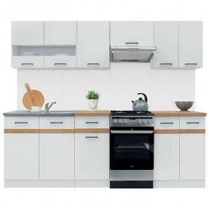 Cucina moderna standard Gaia 230 cm bianco lucido rovere lineare