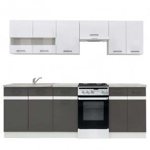 Cucina moderna standard Gaia 230 cm bianco lucido antracite cemento lineare