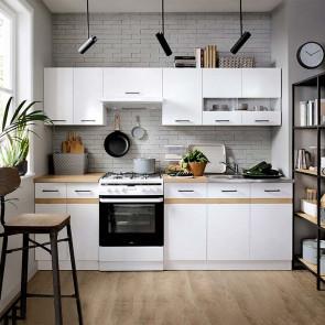 Cucina moderna standard Gaia 240 cm bianco lucido rovere lineare