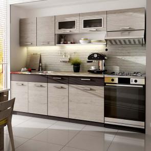 Cucina moderna standard Calliope 240 cm rovere grafite lineare