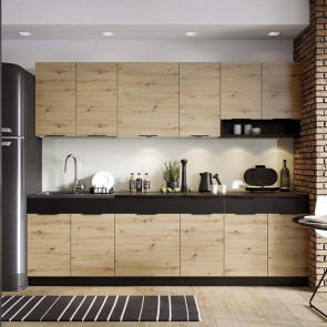 Cucina moderna componibile Terry 260 cm quercia nero standard