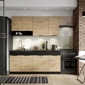 Cucina moderna componibile Terry 240 cm quercia nero standard