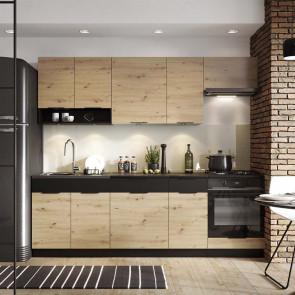 Cucina moderna componibile Terry 1 240 cm quercia nero standard
