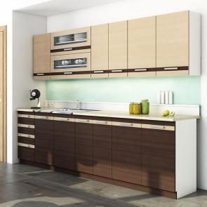 Cucina moderna lineare Alena 260 cm wengè rovere chiaro standard