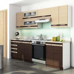 Cucina moderna lineare Alena 240 cm wengè rovere chiaro standard