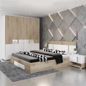 Camera da letto completa Varsavia rovere sonoma bianco opaco