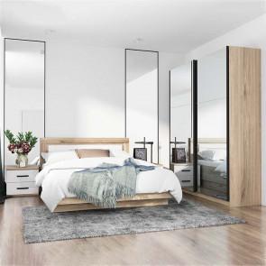 Camera da letto completa Panama rovere sonoma bianco lucido specchio