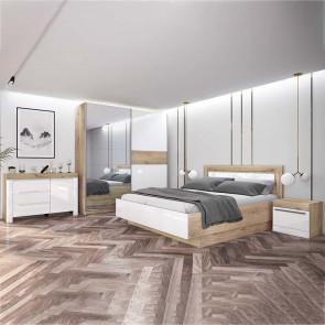 Camera da letto completa Monaco bianco lucido rovere sonoma
