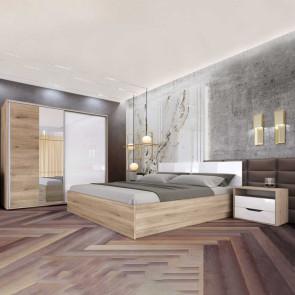 Camera da letto completa Tamigi rovere sonoma bianco lucido