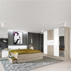 Camera da letto completa Desna rovere sonoma bianco lucido